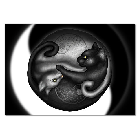 Yinyang Cat Morning by Khalia Art 1 Piece Canvas