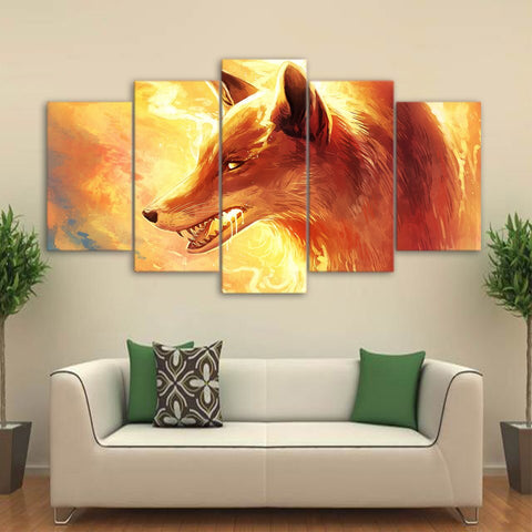 Fire Fox by JoJoesArt 5 Piece Canvas