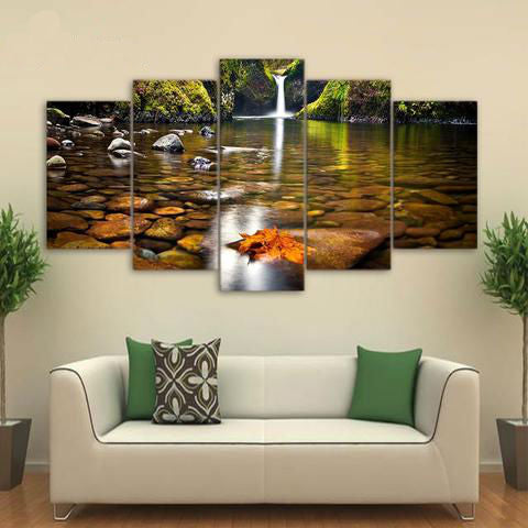 Autumn Waterfall Small Rocks 5 Piece Canvas