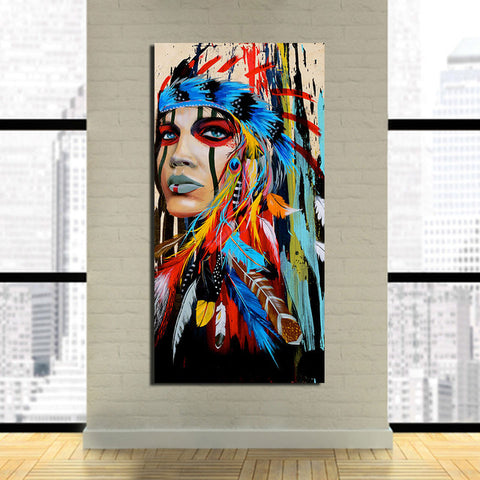 Native American Indian with Blue Purple Red Feather 1 Piece Canvas