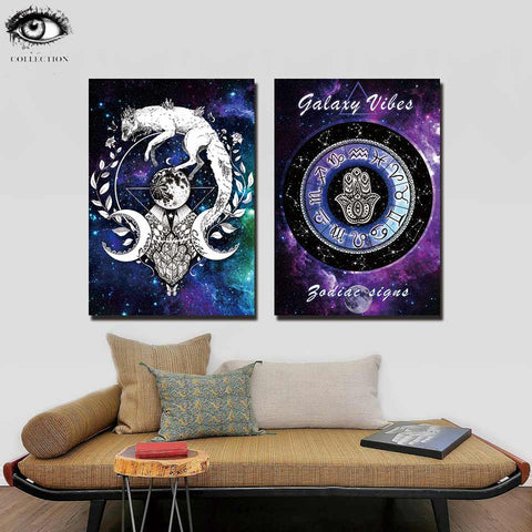 Wolf Galaxy by Pixie Cold Art 1 Piece Canvas