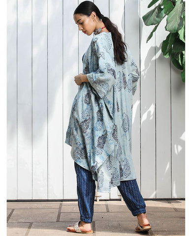 Indigo Embroidered Cape