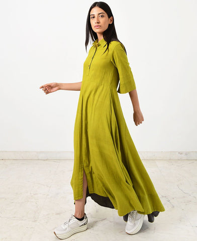 Green Collar Jumpy Dress