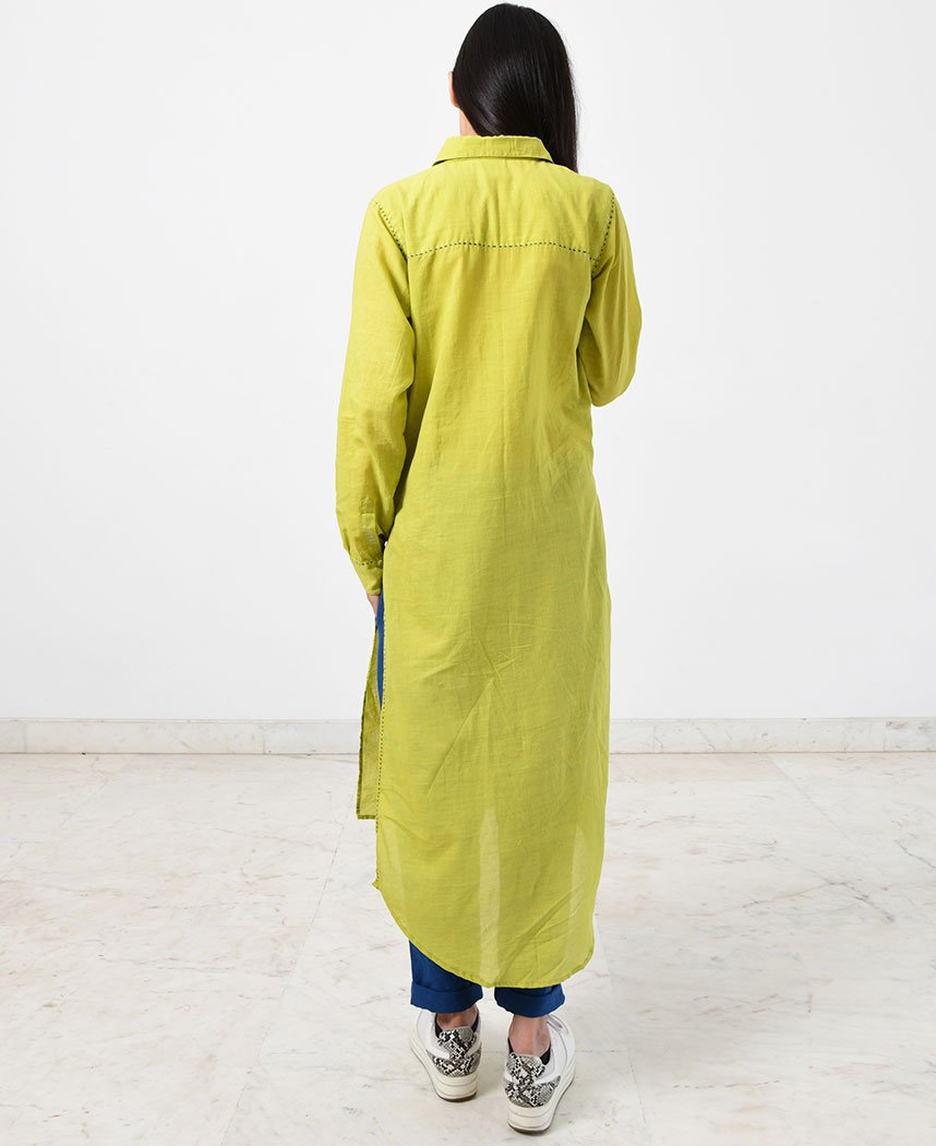Lime Pleated Kurta