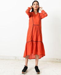 Panelled Piped Dress