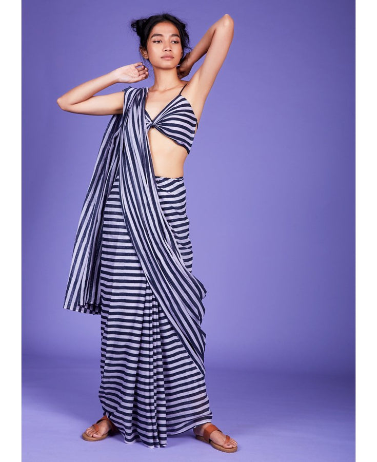 Striped Aakar Saree Set