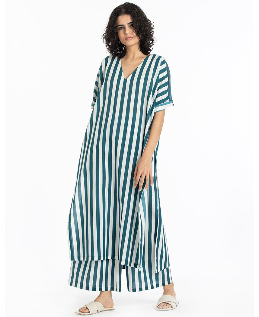 Teal Stripe Kaftan