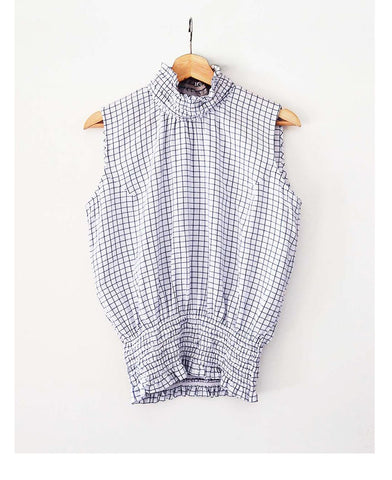 Gathered Check Top