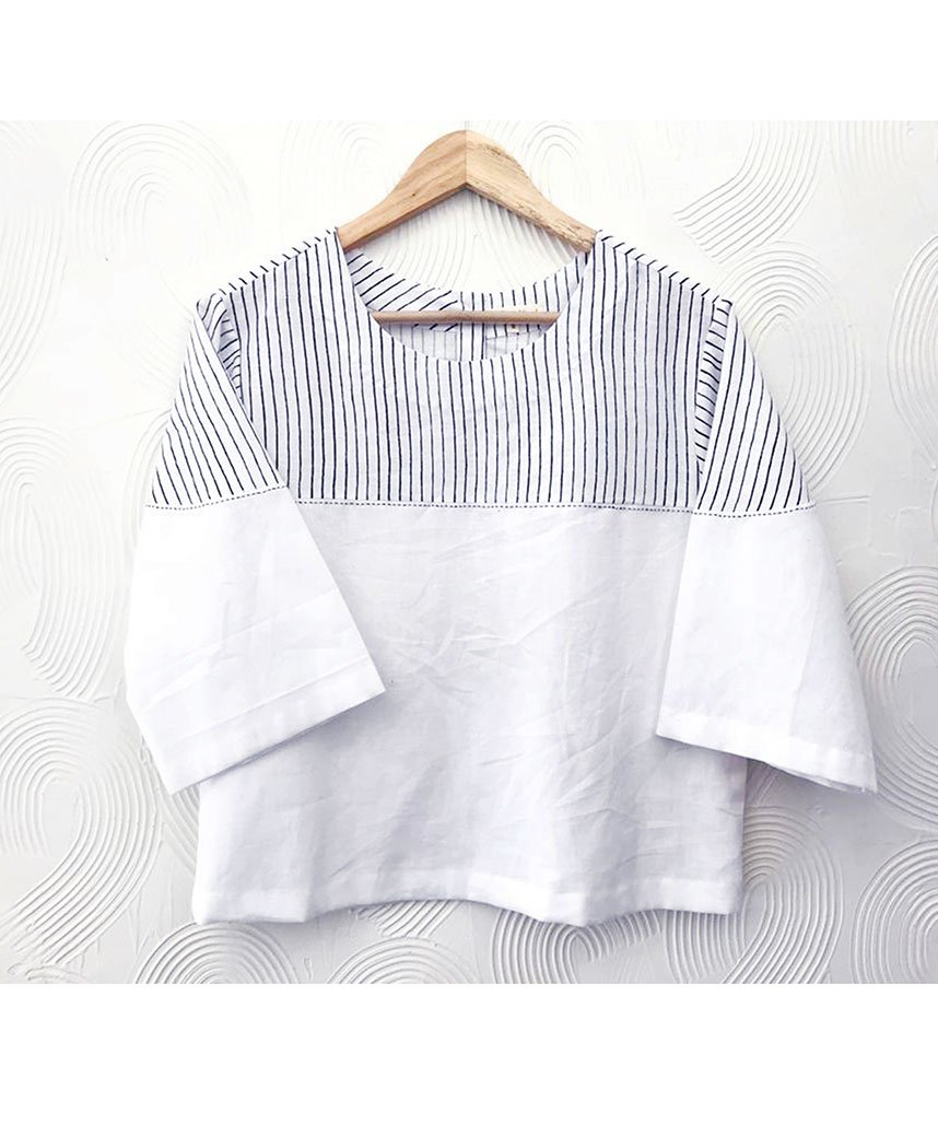 White Stripe Top
