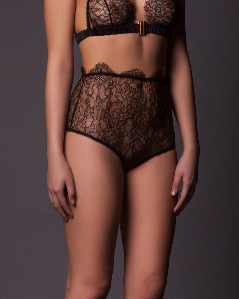 Ada High Waisted Brief in Black Lace.