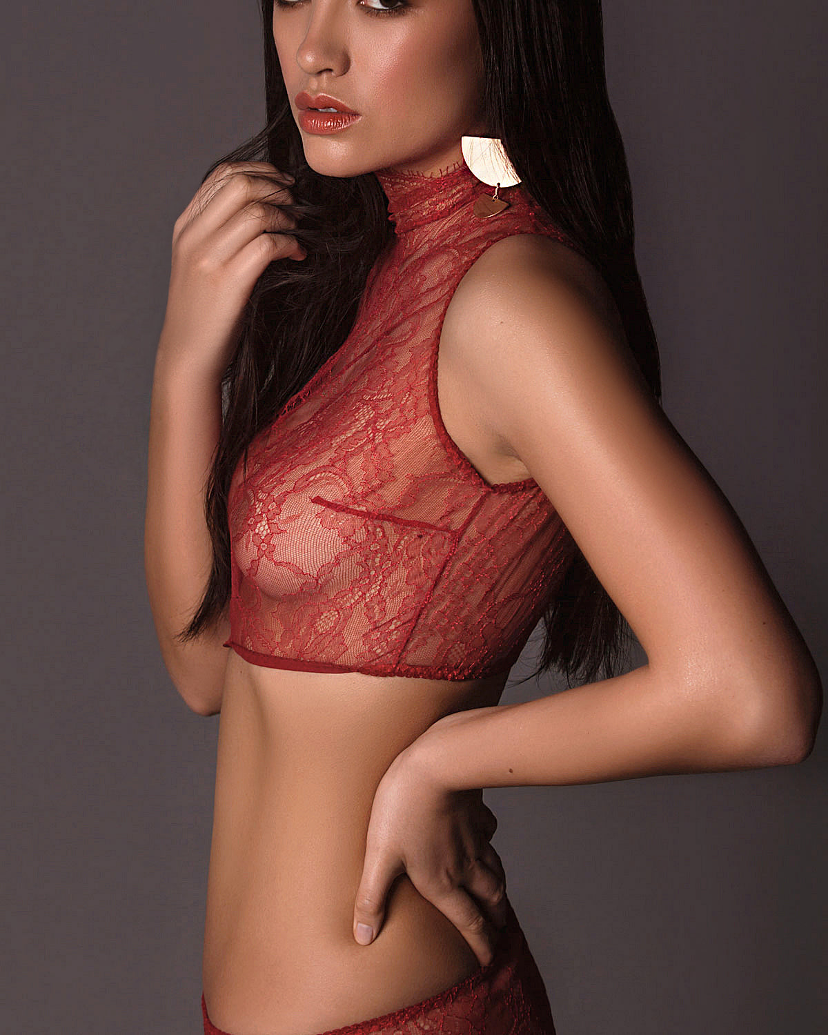 Alexis Crop Bra in Red Lace.