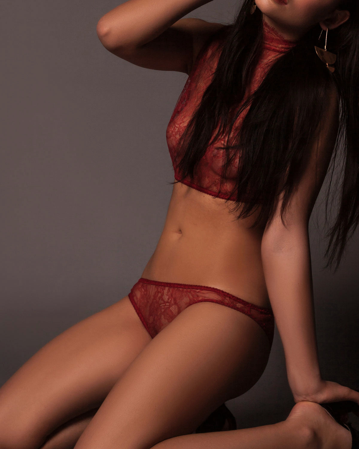 Alexis Brazilian Brief in Red Lace.