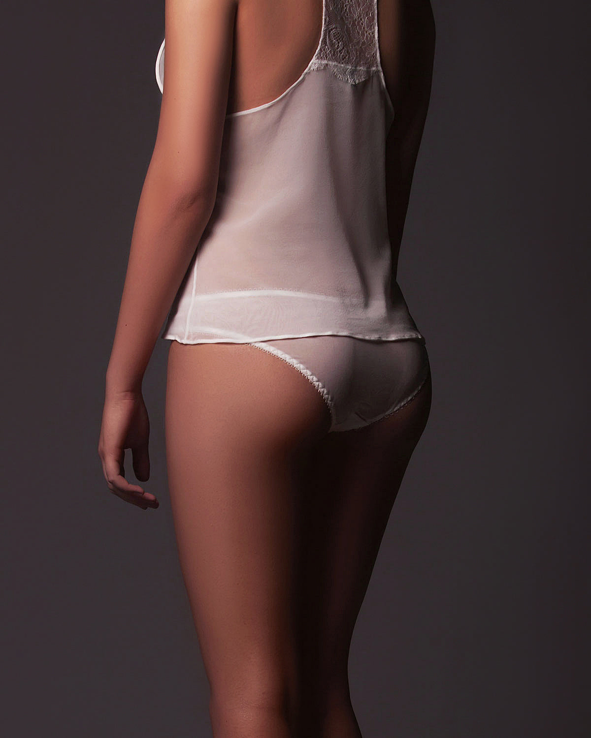 Yasmin Brazilian Brief in Off White Lace and Silk Chiffon.
