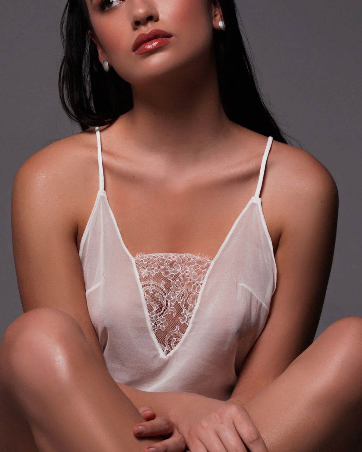 Yasmin Sheer Cami in Off White Lace and Silk Chiffon.