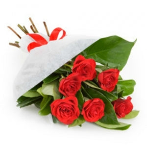 6 Red Roses in Wrapping