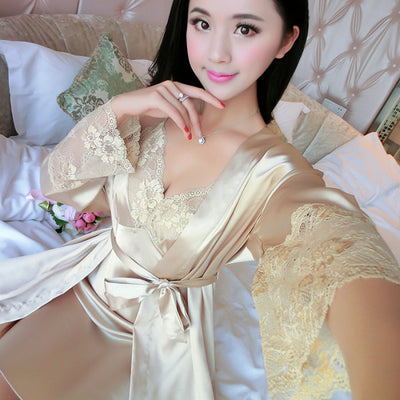 WLK Women Lace Sleeping Clothes 4 Seasons 2in1 Fashion Sexy Sets V-Neck  Sleepwear Womens Pajamas ... 58ce15337