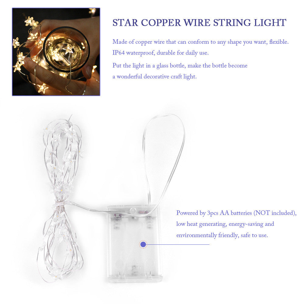 2m/6.5ft 20-LED Copper Wire Star String Light for Glass Craft Bottle ...
