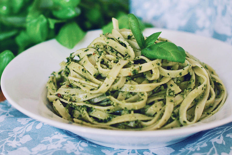 PASTA WITH PINE NUT BASIL PESTO