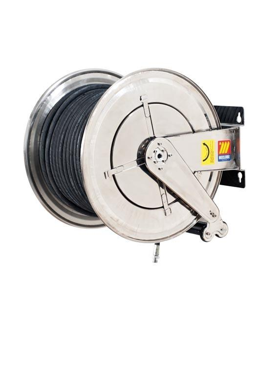 070-2602-620 - Stainless steel automatic hose reel AISI 304 fixed for air-water 20 bar Mod. FX-560 with synthetic black rubber hoses R6 20M 1""
