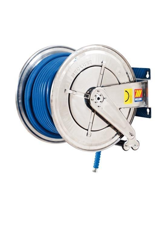070-2604-440 - Stainless steel automatic hose reel AISI 304 fixed for water 150°C 200 bar Mod. FX-560 with synthetic rubber hoses no trace blue 1SC 40M 1/2""