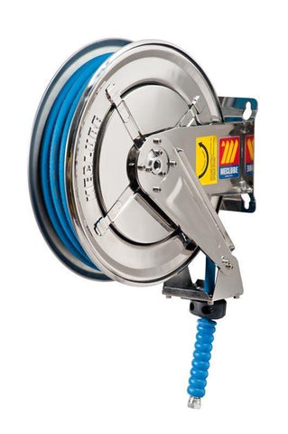 070-2205-210 - Stainless steel automatic hose reel AISI 304 fixed for water 150 °C 400 bar Mod. FX-400 with synthetic rubber hoses no trace blue 2SC 10M 5/16""