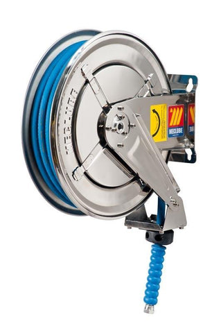 070-2205-310 - Stainless steel automatic hose reel AISI 304 fixed for water 150 °C 400 bar Mod. FX-400 with synthetic rubber hoses no trace blue 2SC 10M 3/8""