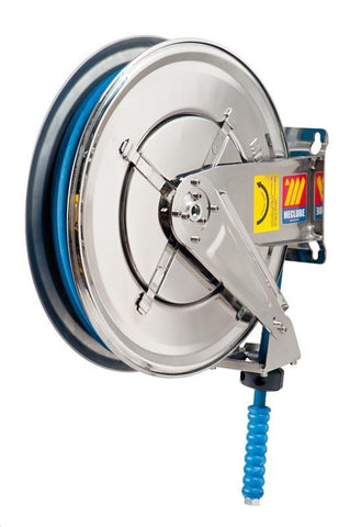 070-2305-318 - Stainless steel automatic hose reel AISI 304 fixed for water 150 °C 400 bar Mod. FX-460 with synthetic rubber hoses no trace blue 2SC 18M 3/8""