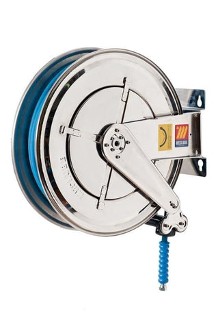 070-2405-320 - Stainless steel automatic hose reel AISI 304 fixed for water 150 °C 400 bar Mod. FX-550 with synthetic rubber hoses no trace blue 2SC 20M 3/8""