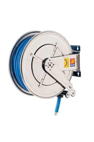 070-2505-330 - Stainless steel automatic hose reel AISI 304 fixed for water 150 °C 400 bar Mod. FX-555 with synthetic rubber hoses no trace blue 2SC 30M 3/8""