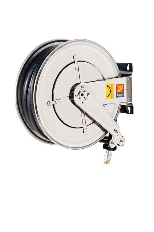 070-2508-520 - Stainless steel automatic hose reel AISI 304 fixed for diesel 10 bar Mod. FX-555 83 l/m with antistatic black rubber hoses 20M 3/4""
