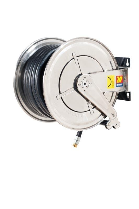 070-2608-540 - Stainless steel automatic hose reel AISI 304 fixed for diesel 10 bar Mod. FX-560 75 l/m with antistatic black rubber hoses 40M 3/4""
