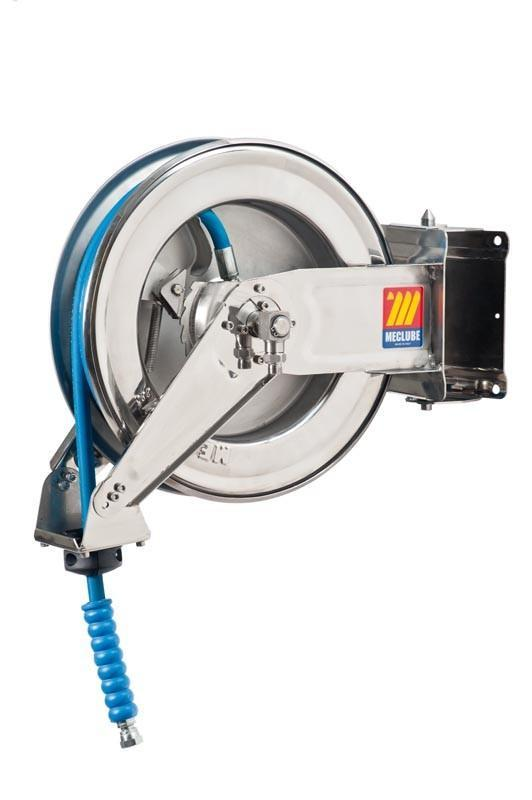 071-2204-410 - Stainless steel automatic hose reel AISI 304 swivelling for water 150°C 200 bar Mod. SX-400 with hose 10M 1/2""