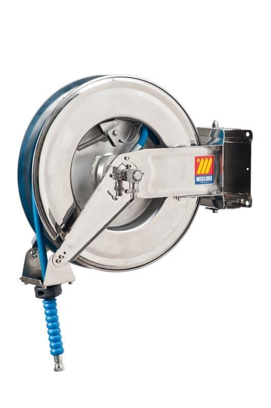 071-2304-315 - Stainless steel automatic hose reel AISI 304 swivelling for water 150°C 200 bar Mod. SX-460 with hose 15M 3/8""
