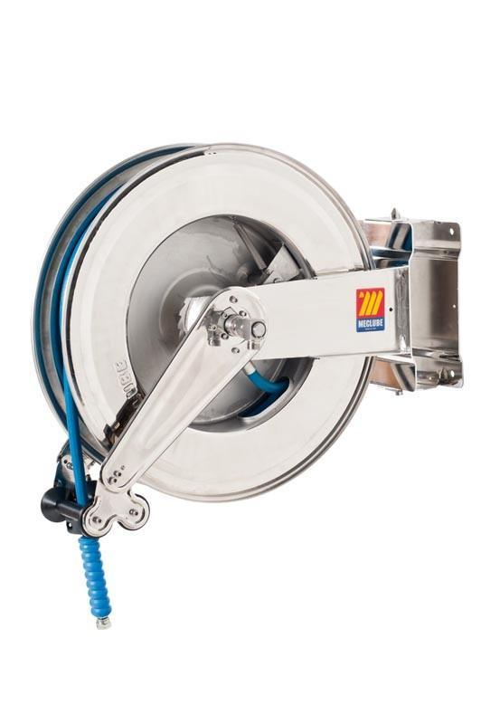 071-2404-325 - Stainless steel automatic hose reel AISI 304 swivelling for water 150°C 200 bar Mod. SX-550 with hose 25M 3/8""