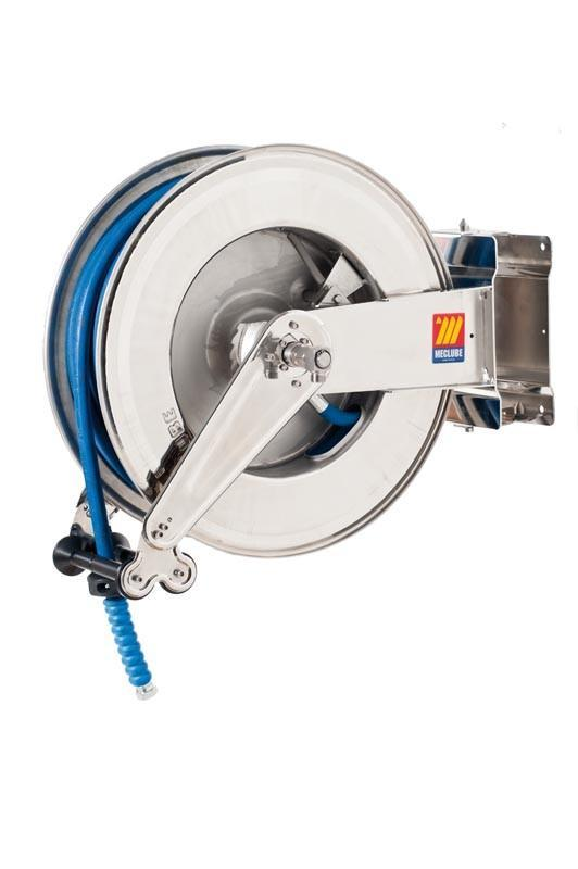 071-2505-330 - Stainless steel automatic hose reel AISI 304 swivelling for water 150°C 400 bar Mod. SX-555 with hose 30M 3/8""