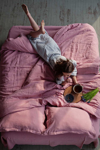 pink linen duvet cover, linen bedding pink color