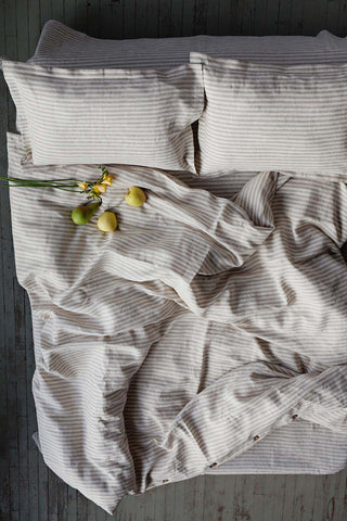 striped in natural and white linen duvet cover, linen duvet cover