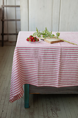 Striped Linen Tablecloth, 100% linen tablecloth