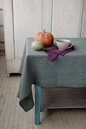 GREEN LINEN TABLECLOTH - Iconic Linen