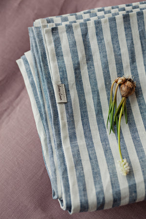 BLUE AND WHITE STRIPED LINEN FLAT SHEET - Iconic Linen