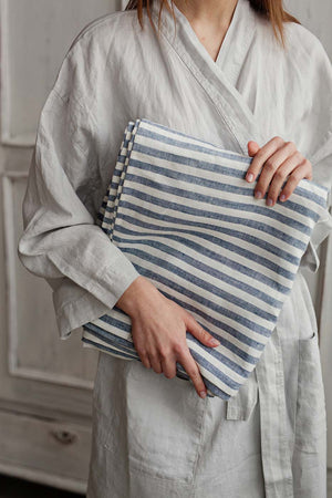 BLUE AND WHITE STRIPED LINEN FABRIC - Iconic Linen