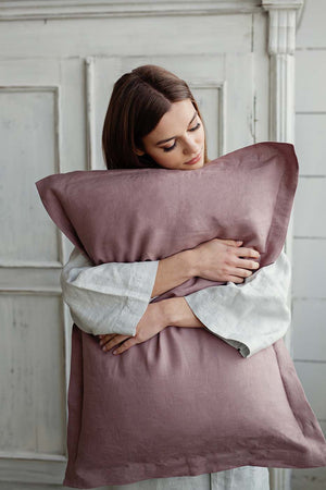 DUSTY ROSE LINEN PILLOW CASE - Iconic Linen
