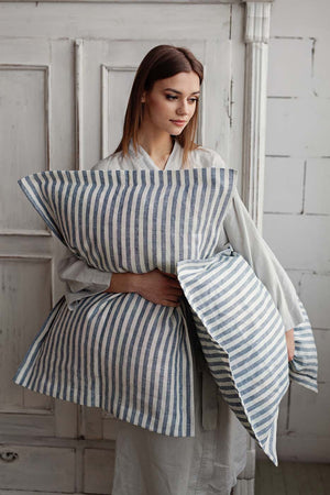 STRIPED IN BLUE AND WHITE LINEN PILLOW CASE - Iconic Linen