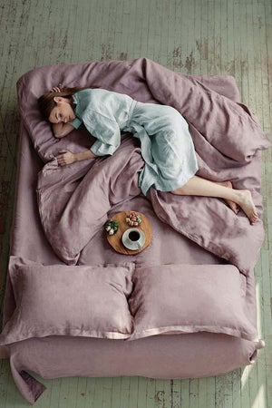 DUSTY ROSE LINEN DUVET COVER - Iconic Linen