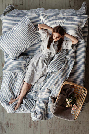STRIPED IN BLUE AND WHITE LINEN DUVET COVER - Iconic Linen