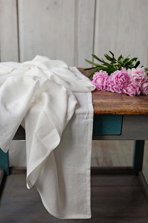 WHITE LINEN TABLE RUNNER - Iconic Linen