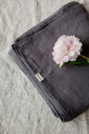 DARK GREY LINEN FLAT SHEET - Iconic Linen