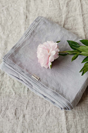 LIGHT GREY LINEN FLAT SHEET - Iconic Linen