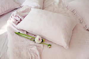 BLUSH PINK LINEN PILLOW CASE - Iconic Linen