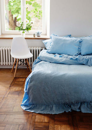 RUFFLED LINEN BEDDING SET-LIGHT BLUE - Iconic Linen
